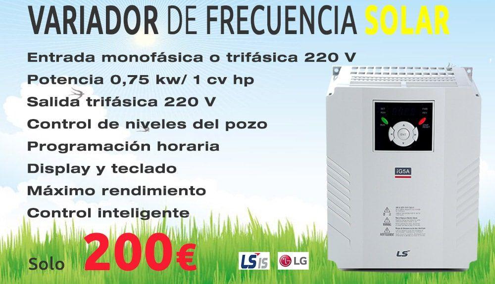 VARIADOR DE FRECUENCIA SOLAR MONOFÁSICO 0,75 KW LS