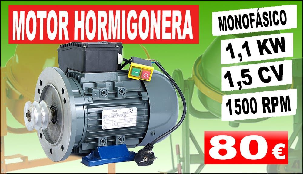 MOTOR DE 1,1 KW MONOFÁSICO 220V PARA HORMIGONERA